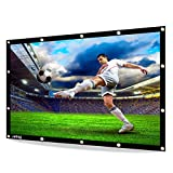 JUNING Pantalla de proyector, Pantalla de Cine portátil al Aire Libre 100 '' 16: 9 HD 3D Plegable para Cine en casa Cine Interior Exterior y Delantera de proyección Simple PVC