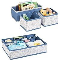 mDesign Juego de 4 cajas organizadoras de polipropileno para dormitorios – Organizadores para armarios de bebés de tela – Caja para organizar juguetes de niños o mesas cambiapañales – azul y gris