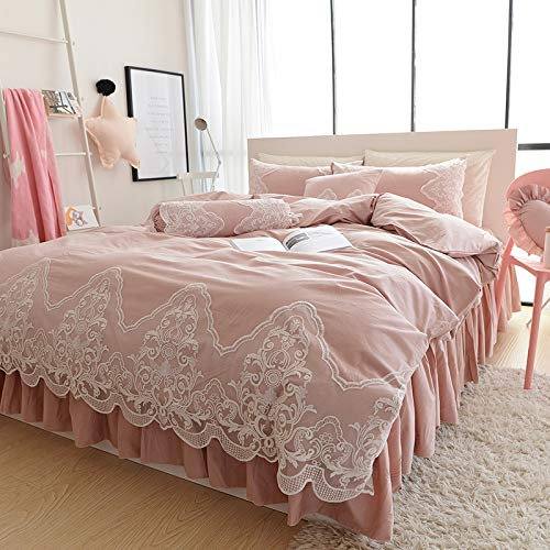 CZCYG Bettwäsche Set 2019 Lace Cotton Bedlinen Bettbezug Set 4-teilig Kollektion Doppelbett Größe, King 4er Set -