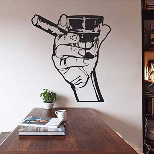 HLZLA Klassische Wandtattoo Trinken Alkohol Männer Bar Whisky Rum Zigarre Entspannung Vinyl Wandaufkleber für Küche Wohnzimmer Decor 42x46 cm (Ein Zigarren Ist Es Junge)