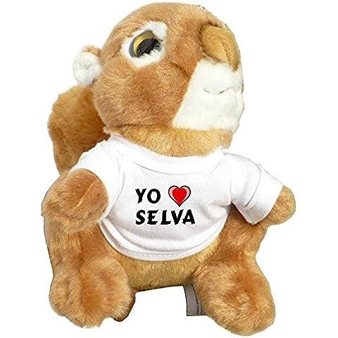 Ardilla personalizada de peluche (juguete) con Amo Selva en la camiseta (ciudad / asentamiento)