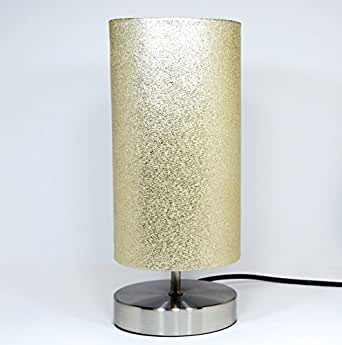 Gold Glitter Metallic Lamp Light Lampshade Chrome Base Bedside Bedroom Table Desk Lamp Lamps
