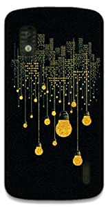 The Racoon Lean City Lights hard plastic printed back case / cover for LG Nexus 4