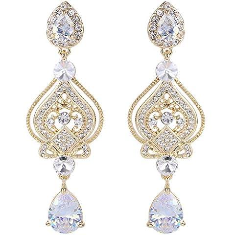 EVER FAITH® CZ Austrian Crystal Romantic Love Heart Chandelier Bridal Earrings Gold-Tone Clear