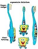 Unbekannt ergonomische Zahnbürste -  Spongebob  - mit Zahnbürstenhalter / Halter Saugnapf - Kinder & Baby / hochwertige Borsten - Kinderzahnbürste & Babyzahnbürste - ..