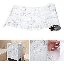 KINLO Papel Pintado Autoadhesivo Muebles Pegatinas 0.61*5M(Ancho*Largo) Renovación y Decoración de Muebles,Material de PVC(Color:Blanco,1 Rollo)