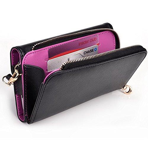 Kroo d'embrayage portefeuille avec dragonne et sangle bandoulière pour Samsung Galaxy A7 Black and Orange Black and Violet