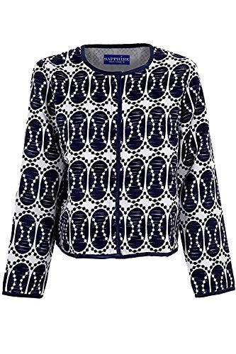 Fantasia Boutique® Femme Marine Blanc Manches Longues Ovale Imprimé Femme Doublé Texturé Veste - Crème, Marine, S