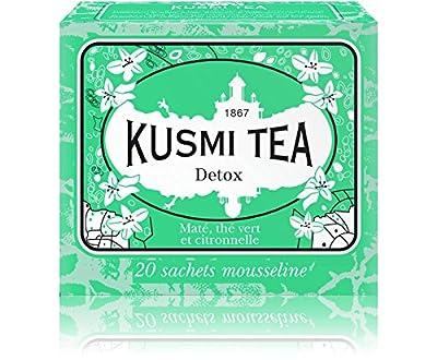Kusmi Tea - Thé Bien-Être Detox - Mélange de Thé Vert, Maté et de Plantes, Aromatisé Citron - Idéal en Glacé - Boîte de 20 Sachets en PLA produits en France