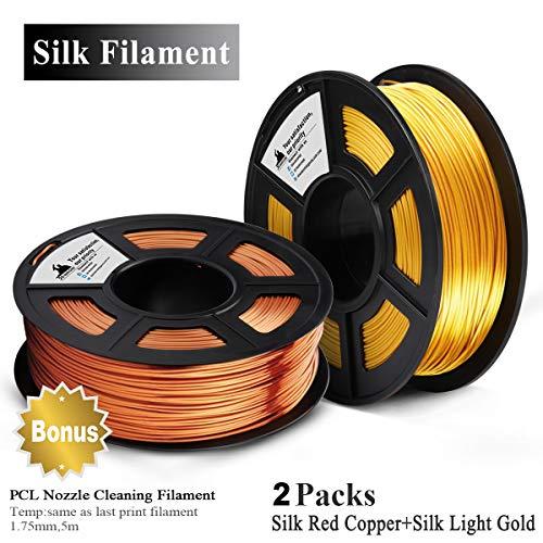 3D Warhorse Silk Filamento 1.75mm,2KG,Bonificación con Filamento de Limpieza de Boquilla PCL de 5M,Cobre+Oro
