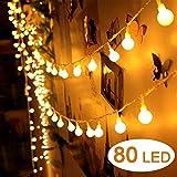 Cookey LED Kugel Lichterkette - 80 Kugel 10M Batteriebetriebene Deko Beleuchtung - Perfekt für Innen-und Außenbereich Garten Weihnachtsbaum Party Fest Hochzeit Dekoration (Warm Weiß)