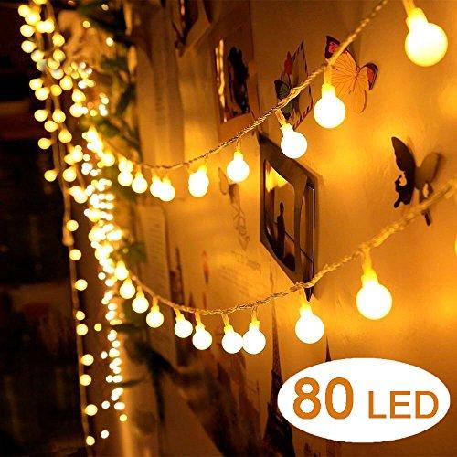Preisvergleich Produktbild AOOKEY Lichterkette 10 Meter 80 LED Globe Lichterkette Warmweiß für Weihnachten,  Hochzeit,  Party,  Zuhause sowie Garten,  Balkon,  Terrasse,  Fenster,  Treppe,  Bar,  etc
