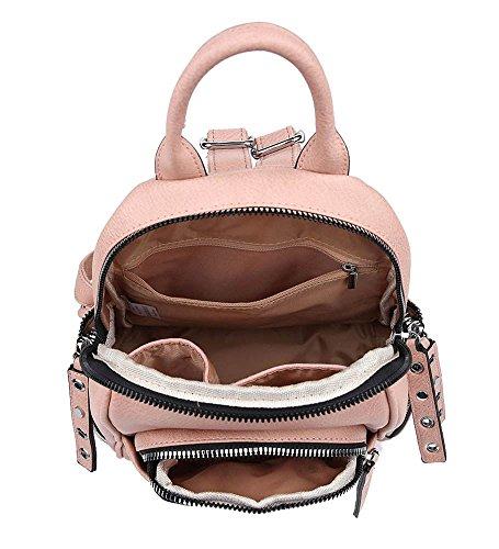 NEU Damen Kunstleder viele Reißverschluss Taschen Klein Rucksack Handtasche - grau, Small Rosa