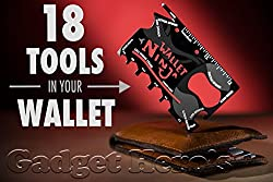 Outfit any wallet with 18 useful, everyday tools with the Wallet Ninja. This perfectly flat multi-tool packs six wrenches, four screwdrivers, two rulers, a cellphone stand, a bottle opener, a can opener, a letter opener, a box cutter, and a fruit pee...