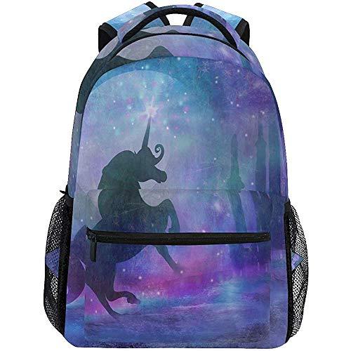 Magische Unciorn Mythos Sterne Traumschloss Rucksäcke Schulbuchtasche Daypack