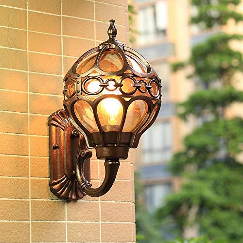 Wandleuchten Außen E27 Wasserdicht Wandlampe Vintage Gartenleuchte Außenleuchte Aluminium und Glas Ball Schatten Fassadenlampe Eingang Foyer Villa Lampe,Bronze 18 * 22 * 34CM -