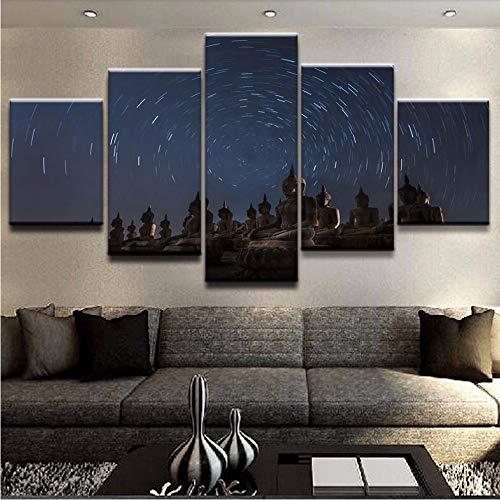 Fyyanm Modulare Bilder Hd Drucke Leinwand Malerei Buddha 5 Stücke Wohnkultur Tempel Wandkunst Nacht Hintergrund Kunstwerk Poster-10X15Cmx2 10X20Cmx2 10X25 cm