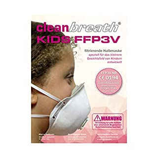 Premium–Reliable for Children (Pack of 10) FFP3With Valve Respirator And Ideal base for children faces | Disposable Dust Mask (Half Face Mask with Nose and Mouth) from Clean Breath®