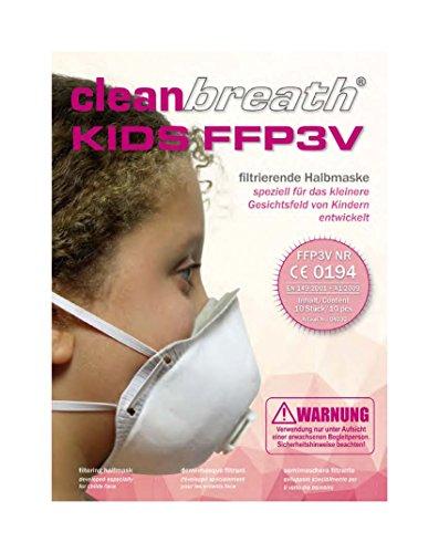 Atemschutzmasken für Kinder (10 Stk.) FFP3 mit Ventil in Premium-Qualität | Zuverlässiger Schutz und Optimaler Sitz Bei Kindergesichtern | Einweg-Staubschutzmaske (Halbmaske) von Clean Breath