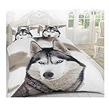 MA ONLINE weiß Wolf Print 3D Einzelbett Fancy Bettwäsche Set, Bettbezug Kissenbezüge, White Wolf Double, Doppel-Größe