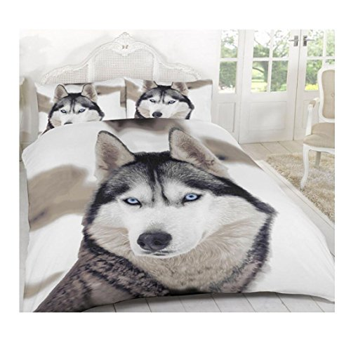 Islander Fashions White Wolf 3D Tier gedruckt Duvet Quilt Bettw�sche Covers Set mit Kissenbez�ge K�nig