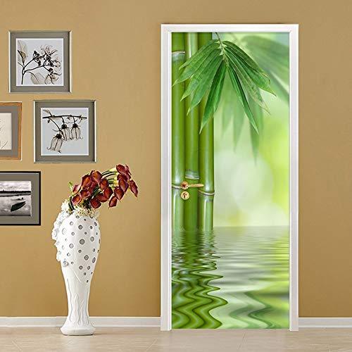 MXLF Türaufkleber 3D Kreative Wand Chinesischen Stil Grün Bambus Tapete Wohnzimmer Wohnkultur Poster Vinyl Wandbild Türaufkleber 77 * 200cm