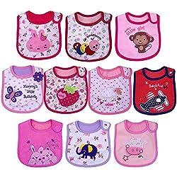 Yafane 10X Baberos Bebé Impermeables Algodón Baberos absorbentes Bandana Drool para Bebé Niños Niñas de 3 a 24 Meses (Niñas)
