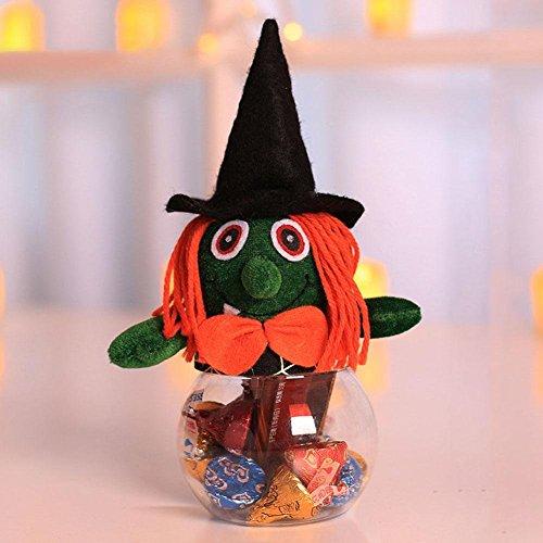 Waroomss Halloween Kürbis Glas, Plastik Candy Cans Bin Cookie Geschenkbox Süßigkeiten Flasche Partyzubehör Fledermaus/Kürbis / Hexe/Black Cat Jar für Kinder Geschenke