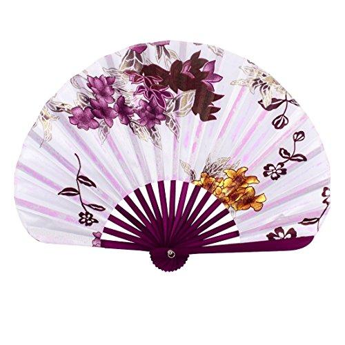 sourcingmapr-wood-rib-seashell-shape-flower-printed-folding-hand-fan-white-burgundy