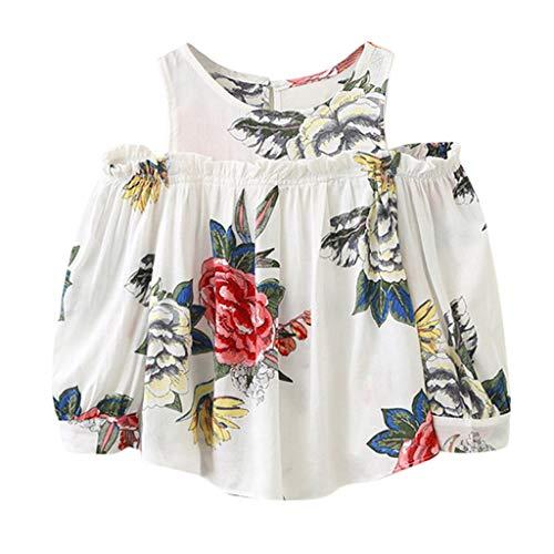 Julhold Kleinkind Kinder Baby Mädchen Mode Elegante Kleidung Blumendruck Trägerlosen Baumwoll T-Shirt Bluse Tops 2-7 Jahre