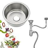 Lavello da cucina da incasso in acciaio inox con tubo di troppopieno