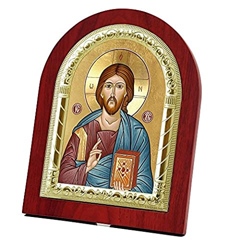 FengMicon Icon of Christ Jesus Pantocrator Wooden Back with Metal