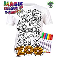 Splat Planet Colour-in Zoo Animals T-Shirt with 6 Non-Toxic Washable Magic Pens - Colour-in and Wash Out T-Shirt