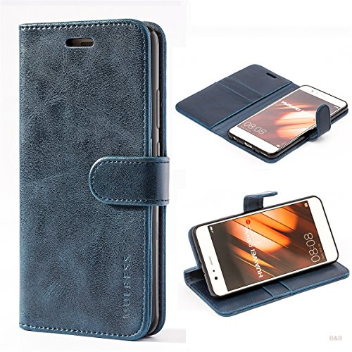 Cover libro Huawei P10 Plus,Custodia Portafoglio Huawei P10 Plus,Mulbess Custodia In Pelle Con Supporto/Chiusura Magnetica Flip Cover per Huawei P10 Plus Cover Blu notte
