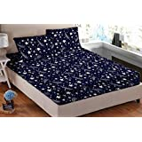 Sky Tex Blue Color Cotton Stars Printed 140 TC Double Bed Sheet With 2 Pillow Covers