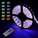 LED Strip | LED Streifen | infinitoo 5M 5050 RGB 300er LEDs mit Fernbedienung 44 Tasten, Mehrfarbige Bänder für Innenbeleuchtung und Küche, unter Schrank, Terrasse, Balkon, Party und Haus Deko