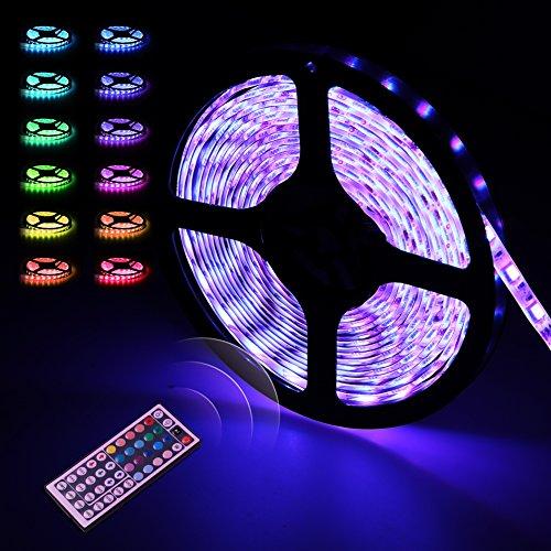 Ruban Led Etanche 5M/ 5050 RGB Ultralumineux | Infinitoo Strip Light Flexible avec 300 Leds | LED Bande 32 Couleurs de Lumière | Télécommande Infrarouge 44 Touches + Adapteur + Alimentation | Comme la Lumière d'Ambiance pour Décoration dans la Maison ou de Plein Air