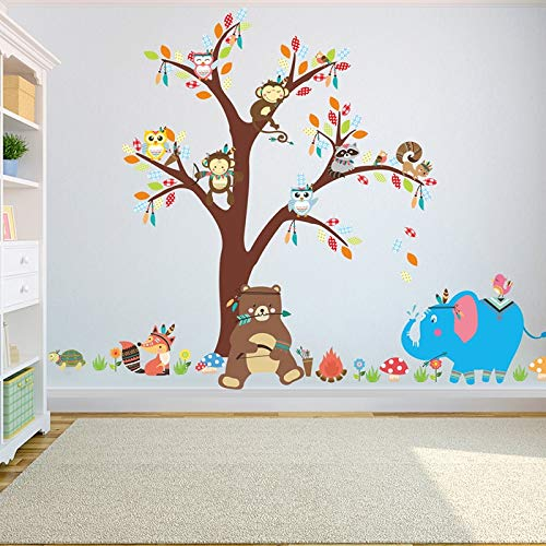Atiehua Wandtattoos Cartoon Baum Wandaufkleber Für Kinder Zimmer Home Dekor Diy Kind Tapete Kunst Decals Haus Dekoration