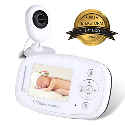 EtekStorm 2018 Newest Video Baby Monitor 2.4″ LCD Screen Display With Night Vision, Two-Way Talk Audio, Lullabies, Temperature Sensor, Shelves And Long Range. 51pqfRhMRlL