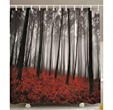 Badezimmerdekoration Rot Extra Langer Duschvorhang Mystic Forest Rotes Gras Primitive Kunst Blume Rainy Gray Foggy Szene Miracle Feel Good 180(H) X210(W)