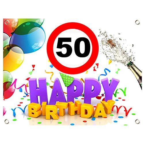 50. Geburtstag Geburtstags Banner Geburtstags Plane PVC 1,30m x 1,00m zum 50. Geburtstag