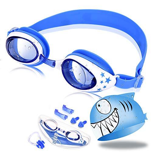OTraki Schwimmbrille für Kinder, Schwimmbrillen mit Badekappe Ohrstöpsel Nasenclip und Austauschbarem Nasensteg Kein Auslaufen, Anti-Beschlag UV Schutz Taucherbrille für 3-10 Jahre Mädchen Jungen