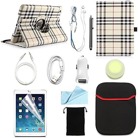 Paquete oferta ARION 11-Item Bundle Kit de accesorios para Apple iPad tabletas–360rotación de funda de piel sintética, función atril, protector de pantalla, gamuza de limpieza, lápiz capacitivo, cargador para el coche, Lightning USB Cable de Syn Cable, AUX, Auriculares, Wire-Holding Box, funda, cordón bolsa de viaje