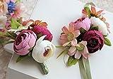 Zinsale Fiore artificiale Corsage da polso e Fiore all'occhiello per Nozze Ballo di fine anno