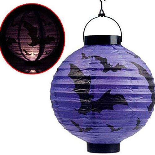 en Halloween Aufhängen Papier Kürbis Laterne Kostüme Party Dekoration Ghost Festival LED Lampe Prop violett (Beste Halloween-kostüm Zu Machen)