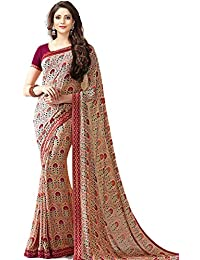 Bhankhariya Women's Georgette Printed Sarees For Women Latest Design 2018 With Blouse Piece (A20Maroon-SAREE15...