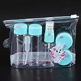 Jinxuny 7 Teile/Satz Reise Mini Make-Up Kosmetische Behälter Transparente Flaschen Gesichtscreme Leere Lidschatten Make-Up Flasche Lit (Color : Blau)