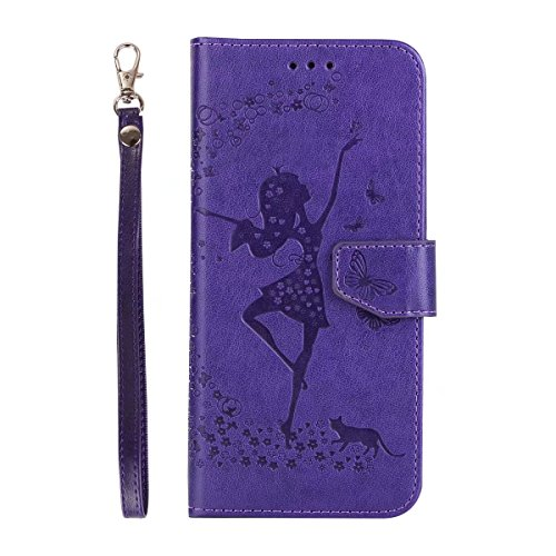 Abnehmbare 2 in 1 Crazy Horse Texture PU Ledertasche, Fairy Girl Embossed Pattern Flip Stand Case Tasche mit Lanyard & Card Cash Slots für Samsung Galaxy S7 ( Color : Rosegold ) Purple