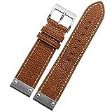NEU 22mm Tan Leder Uhrenarmband ersetzen Schnalle S.S Metall Armband