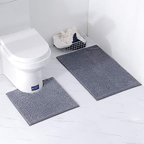 Chenille-2 Stück (Homcomodar Badematten Set 2 Stück Chenille Waschbare Badteppich Set mit U-förmig Toilette Badvorleger für Badezimmer (Dunkel Grau))